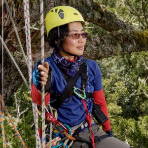 Photo of WFI Fellow Rebecca Hsu from Taiwan in hard hat and climbing harness