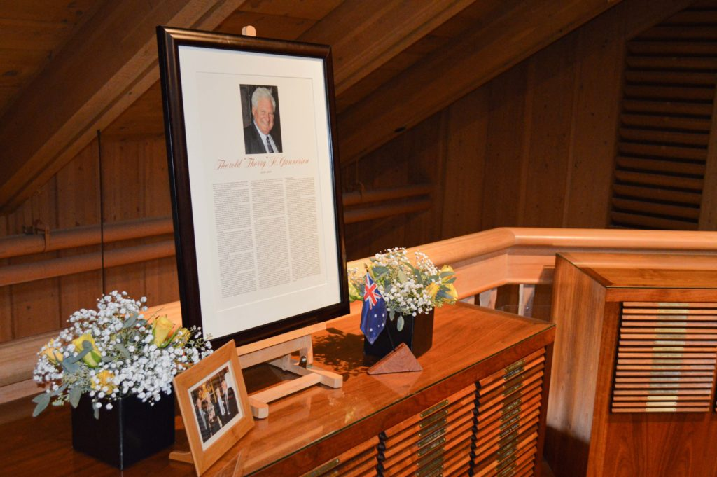 Framed biography of a Forestry Leadership Hall recipient