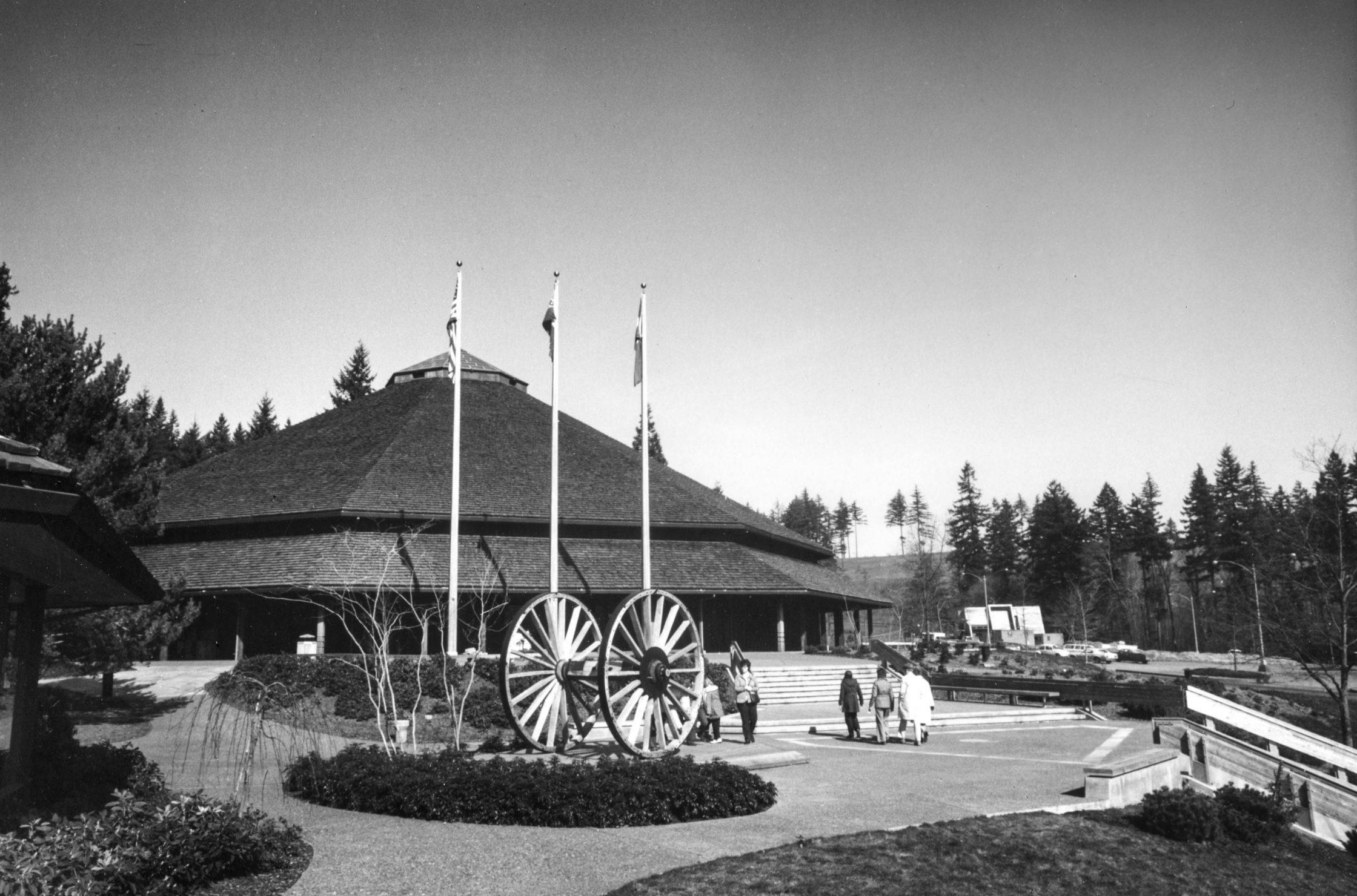 Old black and white photo of Washington Park