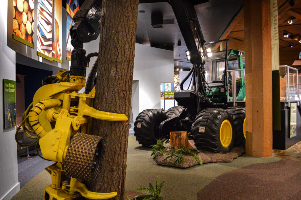 Timberjack Harvester in Museum gripping a tree trunk.