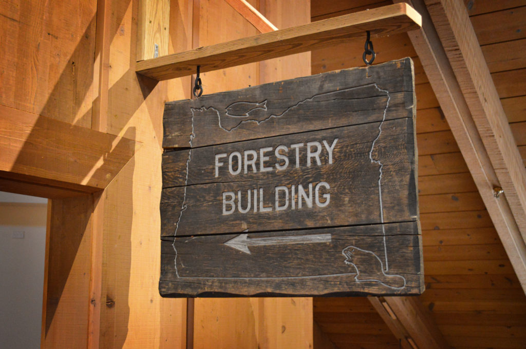 Wooden sign to the Forestry Building