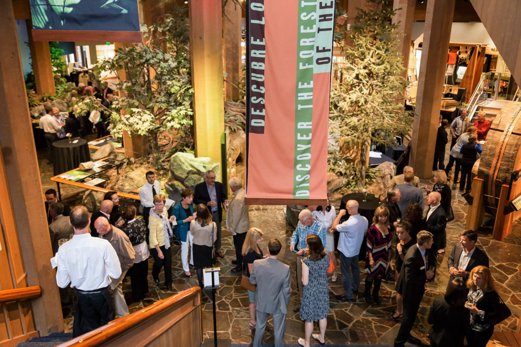 Crowds inside the Discovery Museum at World Forestry Center.