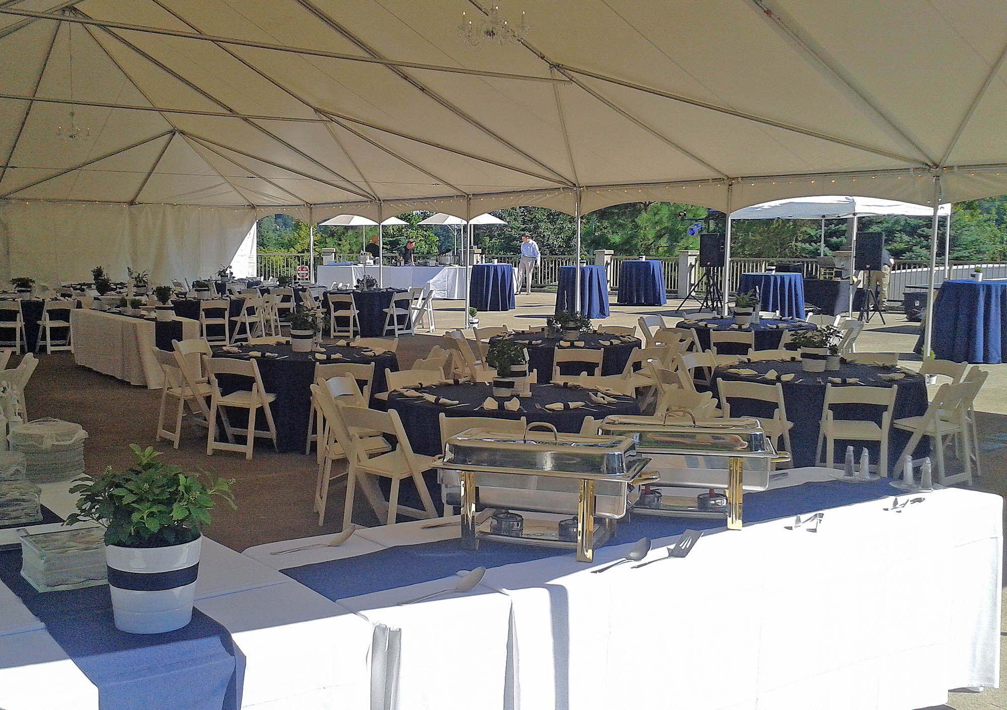 Event space set up for a private event with decorated tables