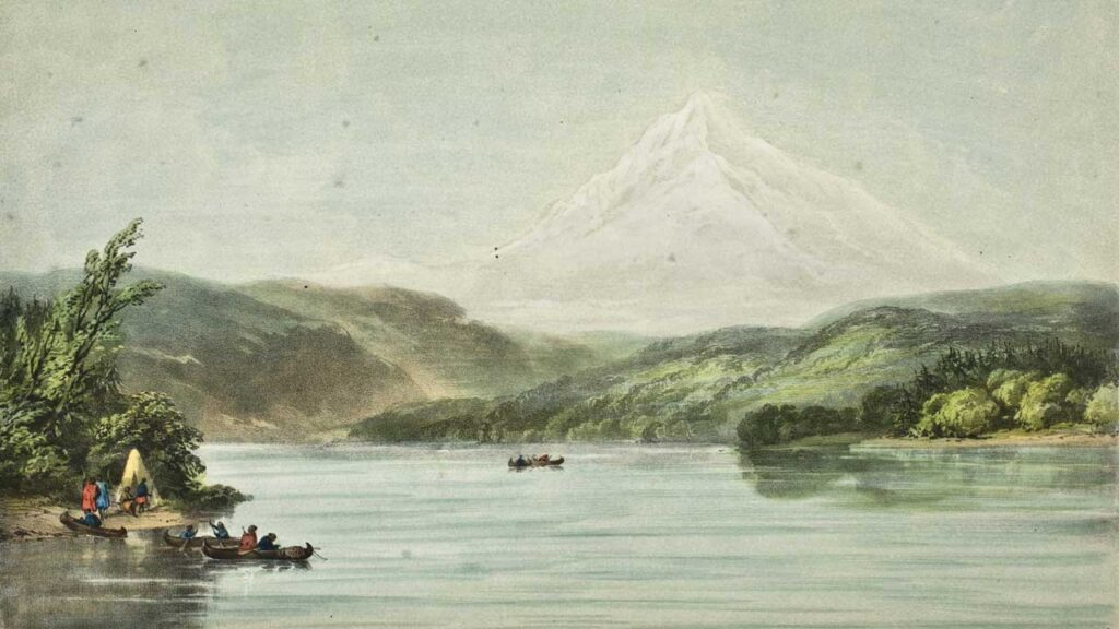 Lithograph of Mount Hood by the British military officer Henry James Warre